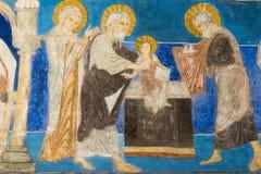 Romanisches Fresko der Darstellung im Tempel Lizenzfreie Stockfotos