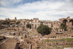 Romano de Foro en Roma, Italia Foto de archivo libre de regalías