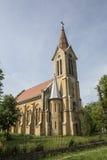 Romano-katolik kyrka från Morahovita, Rumänien royaltyfria bilder