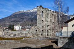 Romano Teatro †«Aosta Valle d& x27 aosta, Ιταλία Στοκ φωτογραφία με δικαίωμα ελεύθερης χρήσης