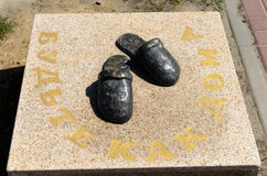 A monument to house Slippers on the embankment of the river don in stanitsa Romanovskaya, Rostov region. Royalty Free Stock Images