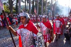 Romans in Holy Week procession, Antigua, Guatemala. ANTIGUA, GUATEMALA - APRIL 6, 2007: Romans in Holy Week (or Semana Santa) religious procession walking Stock Photo