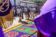 Romans i fastlagenprocessionen, Antigua, Guatemala royaltyfria foton