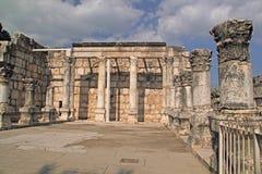 Romans period ruins in Capernaum. Ancient Jesus Synagogue ruins in Capernaum,Israel.Romans period Royalty Free Stock Photo