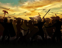 The Romans. Silhouettes fighting warriors are seen against the background of the rising sun Stock Image