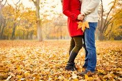 Romans w jesieni w parku Obraz Royalty Free