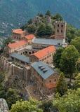 Romansk abbotskloster av St Martin du Canigou Fotografering för Bildbyråer