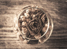 Romansk sammansättning med rosor i en vas i sepia Royaltyfri Fotografi