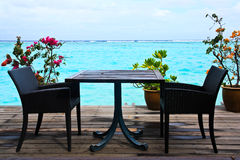 Romantic. Table near the beach Stock Image