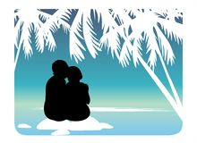 Romantic. Female and man's silhouettes on a background of the sky and palm trees Stock Photo