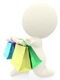 Romantic 3D man with shopping bags Stock Photos