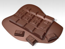 Romantic 3d meltting hard chocolate Stock Photography
