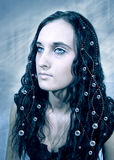 Romantic. Beautiful girl with pearls in hair stock photos