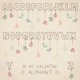 Romantic ABC. Be my Valentine cute alphabet set Stock Image