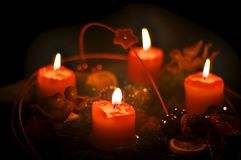 Romantic advent wreath. With four candles an angels Stock Photography