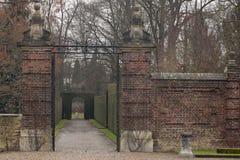 Romantic alley in monumental castle garden Stock Image