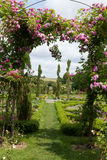 The romantic alley-way in the pergola from roses. Subtle and full taste garden and chateau La Chatonniere near Villandry. Loire Valley Stock Image