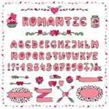 Romantic Alphabet.Heart Font,ABC Letters,decor. Modern Vector Romantic Alphabet. Love doodle Font.Hand drawn ABC Letters. Decorative elements,heart decoration royalty free illustration