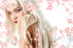 Romantic angel with flowers Stock Photos