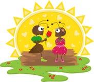 Romantic Ants. Cute cartoon ants in a romantic scene. Eps10 vector illustration