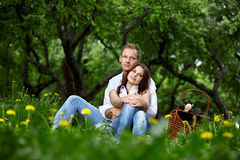 Romantic appointment in park Royalty Free Stock Images
