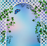 Romantic arbor. Background with  romantic arbor entwined with ivy Royalty Free Stock Photos