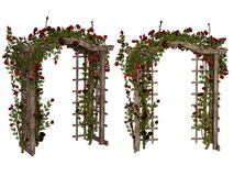Romantic arbor with  red roses Stock Images