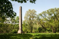 Romantic area at the castle built by Lichtenstein in 1820 near Litovel. Obelisk in the Romantic area at the castle built by Lichtenstein in 1820 near Litovel stock photography