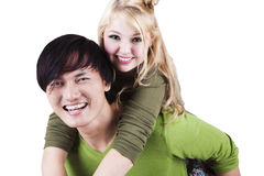 Romantic asian-caucasian couple smiling Stock Image