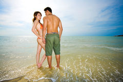 Romantic asian couple on the beach Stock Photography
