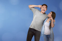 Romantic asian couple with funny expression Stock Image