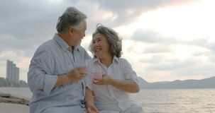 Romantic asian senior couple watching sunset and enjoying a glass of wine on beautiful tropical beach. stock footage