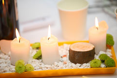 Romantic atmosphere with candle Royalty Free Stock Photo