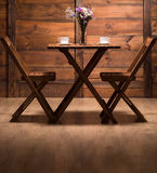 Romantic atmosphere in wooden cafe Stock Photos