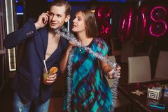 Romantic attention at Christmas party Stock Photo