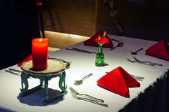 Romantic aura of the cosy restaurant stock photos