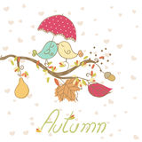 Romantic autumn card. With birds in love Stock Photo