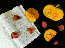 Romantic autumn composition. Made of pumpkin, song book and dried rose petals stock photo