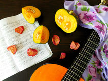 Romantic autumn composition. Made of pumpkin, song book, dried rose petals and guitar stock image