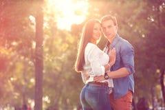 Autumn couple embracing stock image