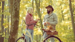 Romantic Autumn Couple in Love. Enjoy. Romantic and love concept. Autumn Beauty. Romantic Autumn Couple in Love. Enjoy. Romantic and love concept. Autumn Beauty stock footage