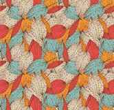 Romantic autumn floral seamless pattern. Beautiful endless linear background with leaves. Vintage leaves texture. Stock Image