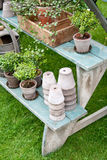 Romantic autumn garden setup stock photo