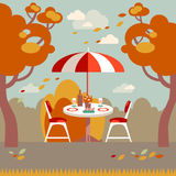Romantic autumn picnic for two. Flat modern vector illustration. Royalty Free Stock Photos