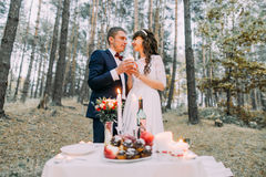 Romantic autumn pine forest picknick of happy newlywed couple celebrating their marriage Stock Images
