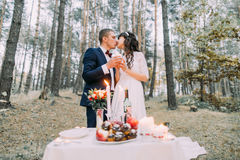 Romantic autumn pine forest picknick. Happy newlywed couple kissing celebrating their marriage Royalty Free Stock Photos