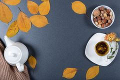 Romantic autumn working desk. Yellow and orange leaves, white cu. P of herbal tea, teapot, warm scarf and nuts. Healthy snack. Top view. Flat lay Royalty Free Stock Image
