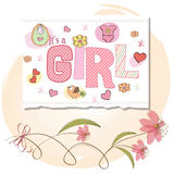 Romantic baby girl shower card. With flowers Royalty Free Stock Photo