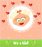 Romantic, baby shower card with text Its a girl Royalty Free Stock Photos