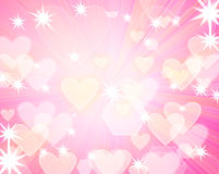 Romantic background. Abstract romantic background with hearts and stars Stock Photography